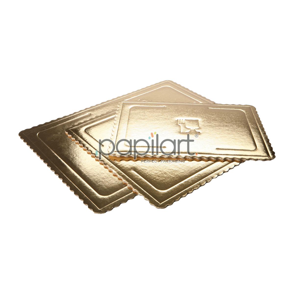 Podkłady pod torty Microtriplo prostokątne złote.