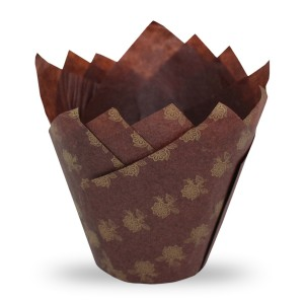Muffiny tulipan brąz+złote kwiaty 50x80